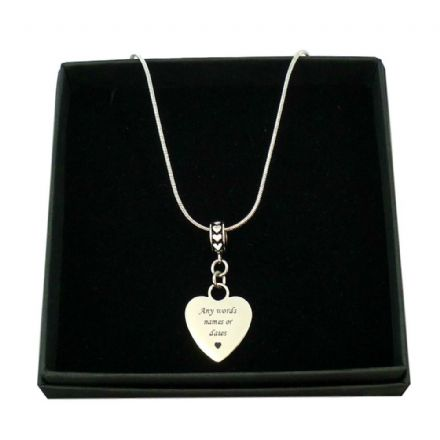 Engraved Heart Necklace on Bail with Hearts